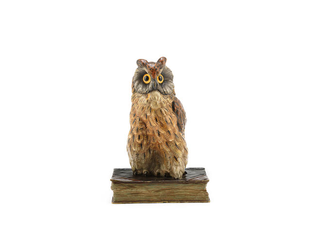 'wise owl' a cold-painted bronze model by franz bergman ARTIST MONOGRAM, CIRCA 1920