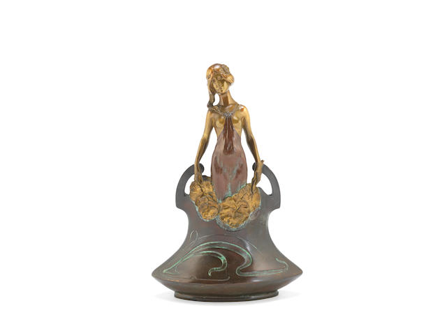 an art nouveau figural twin-handled vase with emerging maiden by charles korschann SIGNED IN CAST, CIRCA 1890
