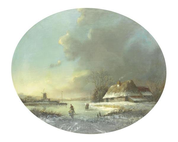 Jan Jacob Coenraad Spohler (Dutch, 1837-1923) Figures on a frozen river