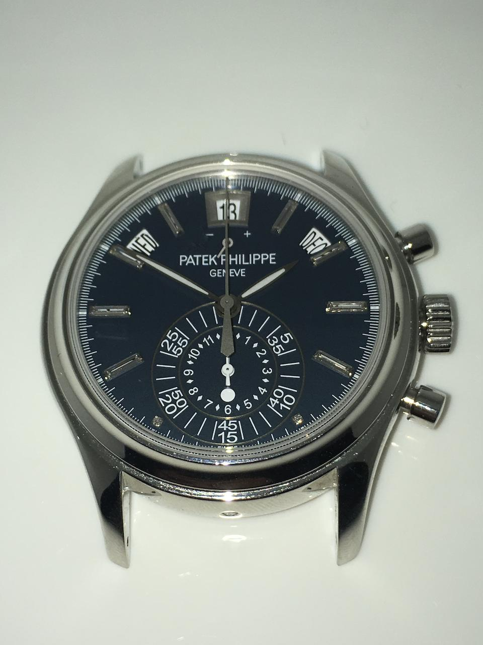 Patek Philippe. A fine platinum automatic annual calendar chronograph wristwatch with power reserve and possibly unique dial Ref: 5960P-020, Sold 10th June 2013