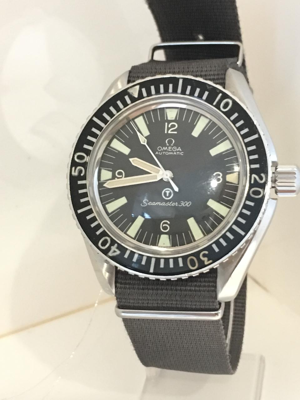 Omega. A stainless steel military issue automatic centre seconds wristwatch  Seamaster 300, Ref: 165.024, Produced September 1st, 1969