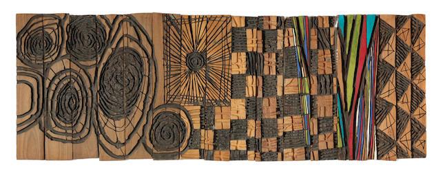 El Anatsui (Ghanaian, born 1944) Riga Sequence  in 15 pieces.