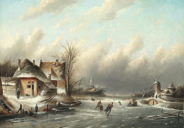 Jan Jacob Coenraad Spohler (Dutch, 1837-1923) Dutch winter scene with figures skating on the ice