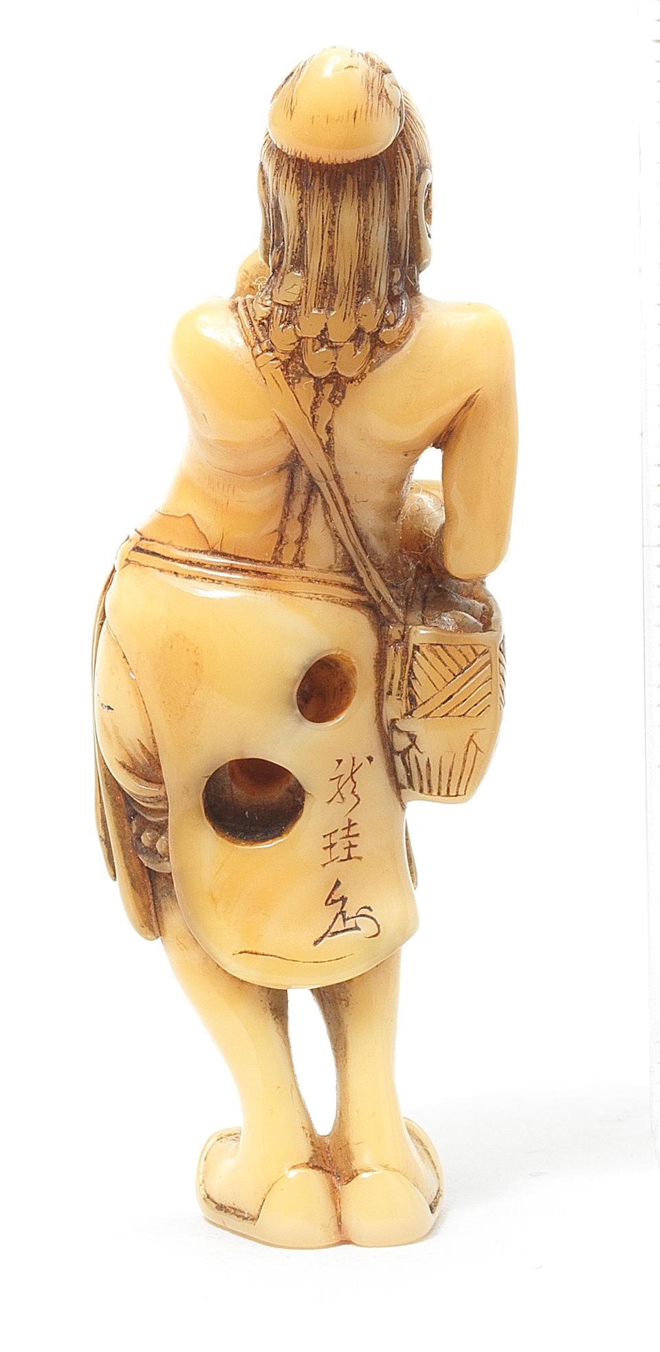 A marine ivory netsuke of a foreign egg-tester By Ryukei, Edo, 19th century