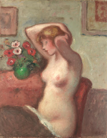 Georges D'Espagnat (French, 1870-1950) Seated nude