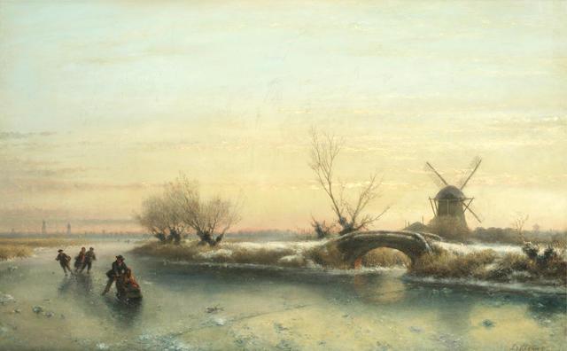 Lodewijk Johannes Kleijn (Dutch, 1817-1897) Skaters on a frozen river