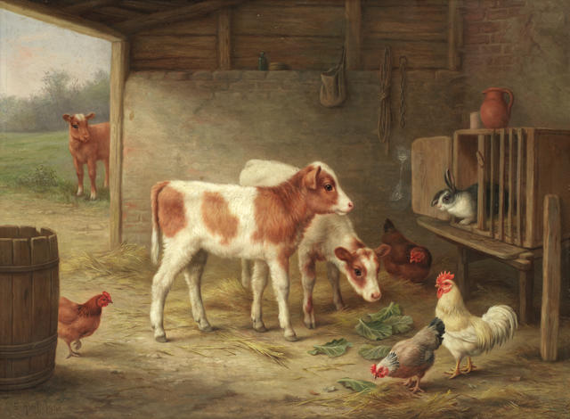 Edgar Hunt (British, 1876-1953) A barn interior with two Ayrshire calves, a cockerel, hens and a rabbit
