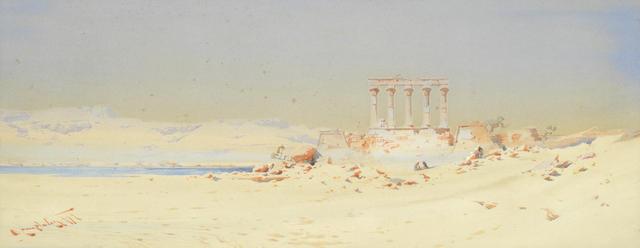 Augustus Osborne Lamplough, A.R.A., R.W.S (British, 1877-1930) Figures by desert ruins