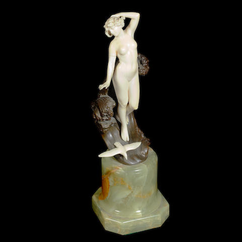 'The Wave' a carved ivory and bronze figure by Ferdinand Preiss SIGNED TO BASE; CIRCA 1920