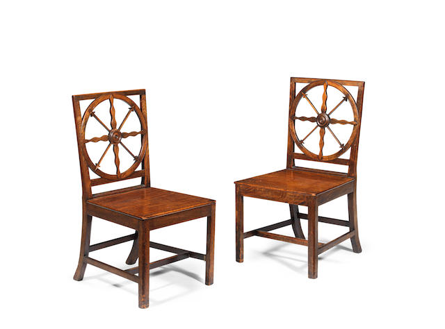 Of Nautical Interest - A set of six George III mahogany hall chairs  (6)