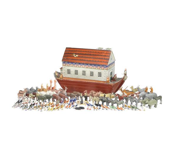 A large Erzgebirge Noah's ark and animals,  Bavarian, mid 19th century,