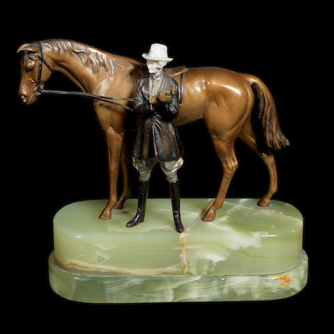 an art deco patinated bronze and carved ivory study of a horse and female rider by bruno zach UNSIGNED, CIRCA 1925