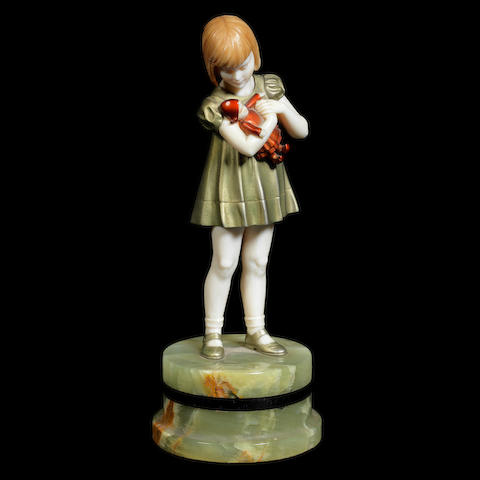 'Girl with Doll' a Cold-Painted Bronze and Carved Ivory Figure by Ferdinand Preiss SIGNED 'F.Preiss'; CIRCA 1925