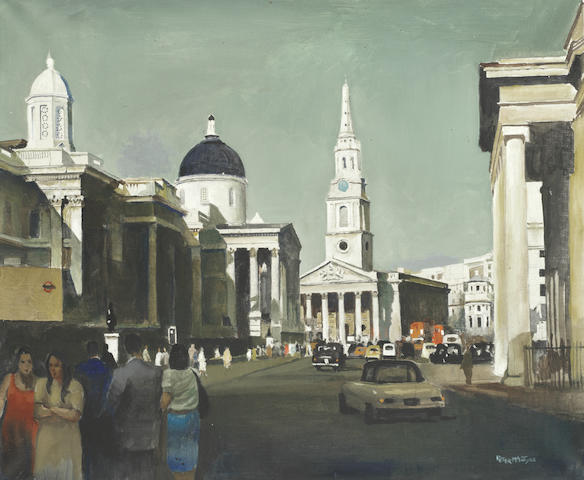 Peter McIntyre (New Zealand, 1910-1995) A London street view with the National Gallery and St Martin-in-the-Fields