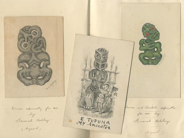 MAORI ART Collection of drawings, and illustrated letters from Major General Horatio Gordon Robley to book collector George Calvert,  [no place or date but possibly c.1919-1920]
