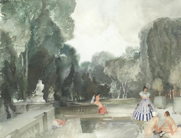 Sir William Russell Flint, RA, PRWS (British, 1880-1969) 'The secret garden'