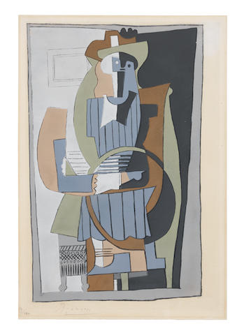 After Pablo Picasso (Spanish, 1881-1973) Seated Figure, from Dix Pochoirs Pochoir in colours, circa 1920, on laid paper, signed and numbered 19/100 in pencil, published by Editions Galerie Rosenberg, Paris, with narrow margins, in good condition   Sheet 330 x 225mm.