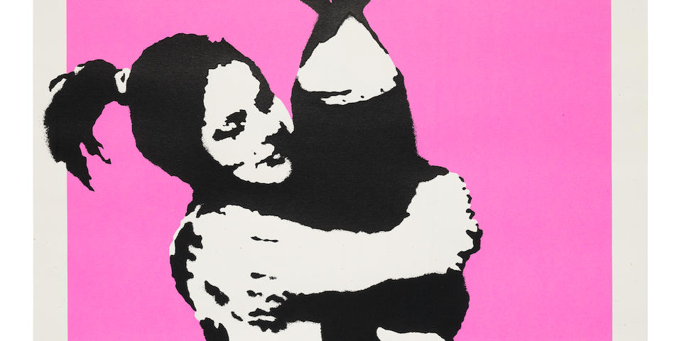 Banksy (British, born 1975) Bomb Hugger (Bomb Love) Screenprint in colours, 2004, on wove, numbered 521/600 in pencil, published by Pictures on Walls, with their blindstamp, the full sheet, 695 x 495mm (27 3/8 x 19 1/2in)(SH)(unframed)