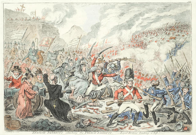 James Gillray (British, 1757-1815) Spanish-Patriots attacking the French-Banditti; The Church Militant; Meeting of Unfortunate Citoyens