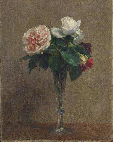 Henri Fantin-Latour (French, 1836-1904) Bouquet de roses dans un verre à pied
