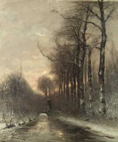 Louis Apol (Dutch, 1850-1936) A river in winter