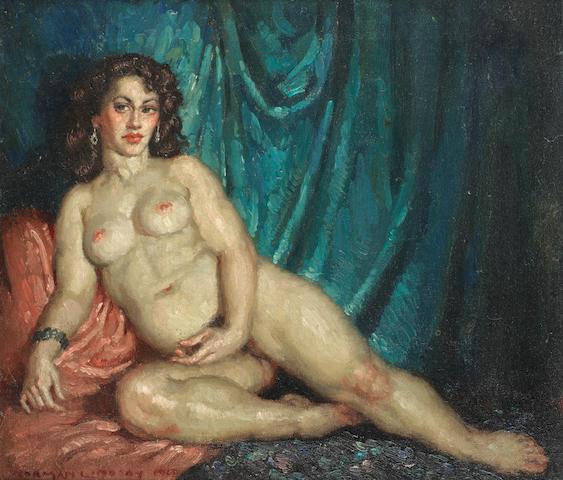 Norman Alfred William Lindsay (Australian, 1879-1969) 'Blue Curtain'