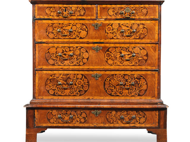 A William and Mary walnut, ebonised and fruitwood marquetry chest on stand the stand possibly reduced in height