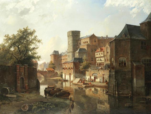 Kasparus Karsen (Dutch, 1810-1896) Trading boats on a Dutch town canal