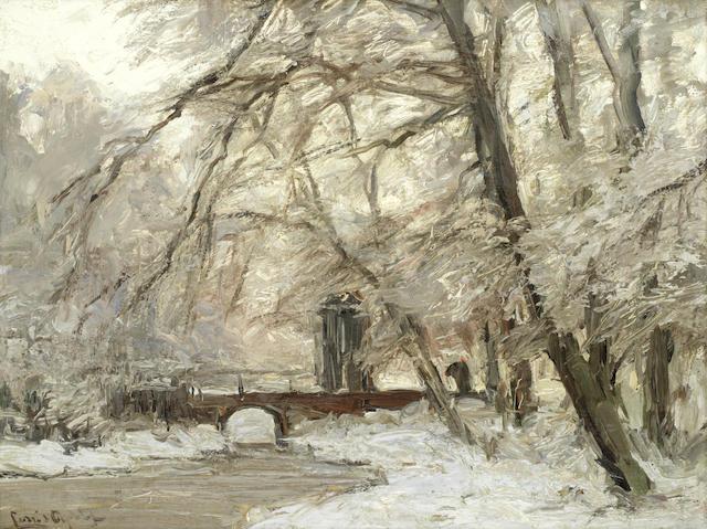 Louis Apol (Dutch, 1850-1936) A woodland river in winter