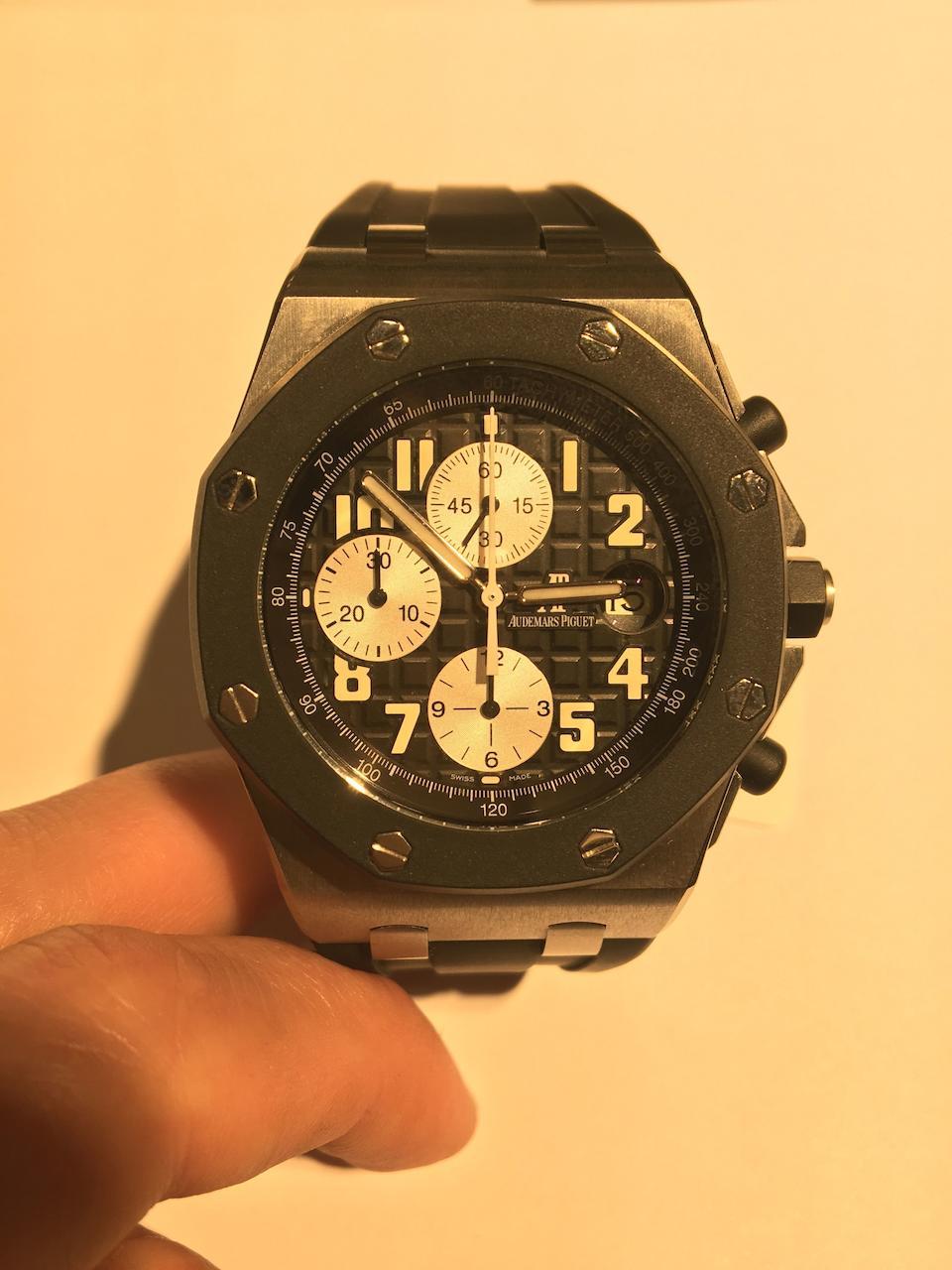 Audemars Piguet. A stainless steel automatic calendar chronograph wristwatch  Royal Oak OffShore, Ref: 25940SK.OO.D002CA.01.A, Sold 28th March 2013