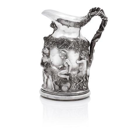 A late 19th century silvered bronze wine jug