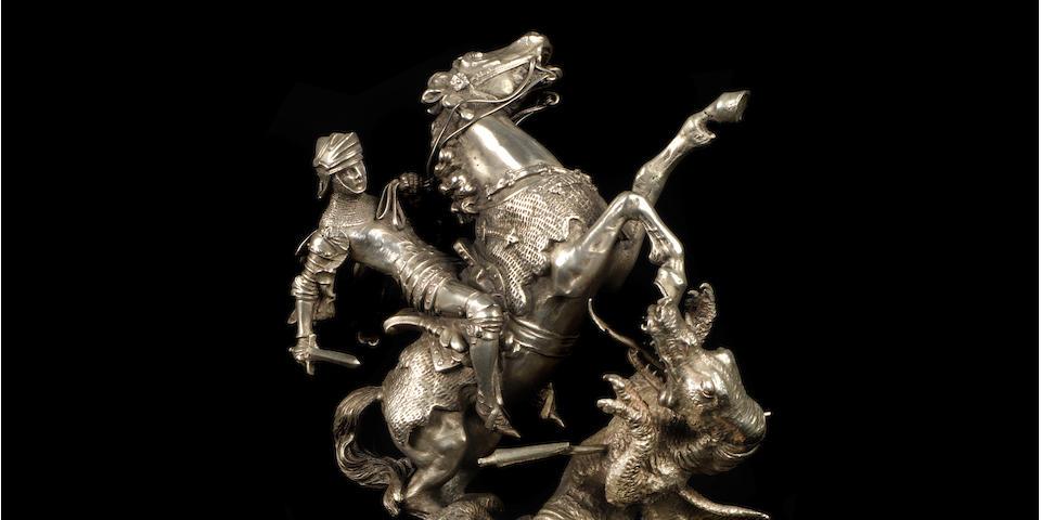 Belle mascotte « St George et le Dragon » par Carl Kauba, fabrication autrichienne, vers 1920,