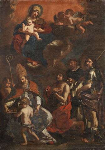 Studio of Giovanni Francesco Barbieri, called il Guercino (Cento 1591-1666 Bologna) The Madonna and Child with the patron Saints of Modena: Saints John the Baptist, Peter the Martyr, George and Geminianus