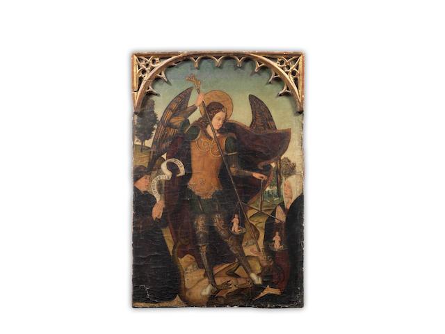 Spanish School, 16th Century The Archangel Michael unframed