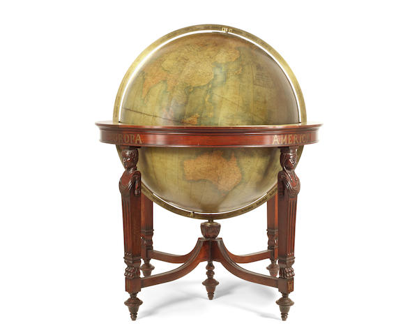 An impressive  30-inch W & A. K. Johnston facsimile terrestrial boardroom globe on stand,  late 20th century,