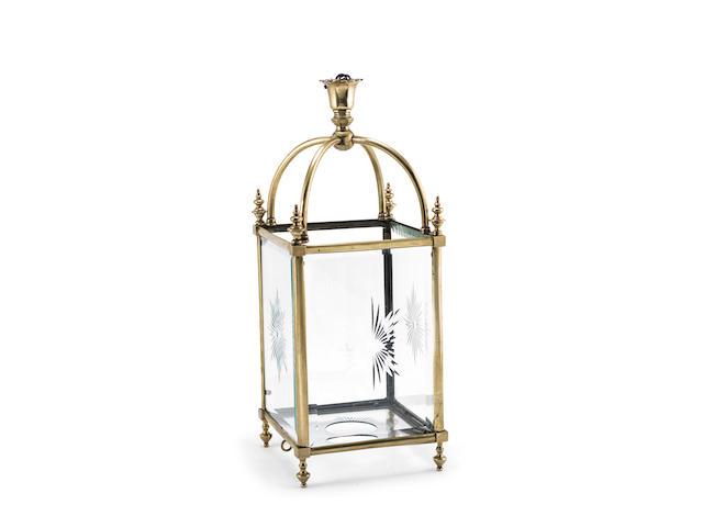 A late Victorian brass and cut glass rectangular hall lantern