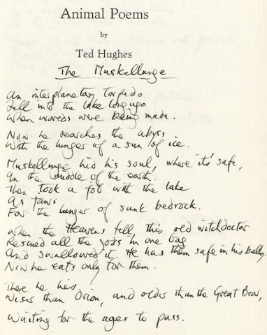 HUGHES (TED) Animal Poems, UNIQUE PRESENTATION COPY, INSCRIBED BY THE AUTHOR TO HIS SON, WITH 9 AUTOGRAPH POEMS, [Richard Gilbertson, [1967]