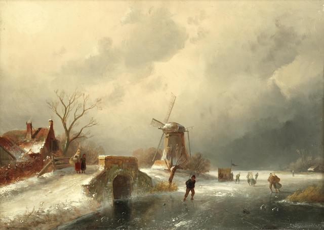 Charles Henri Joseph Leickert (Dutch, 1816-1907) A Dutch frozen river landscape
