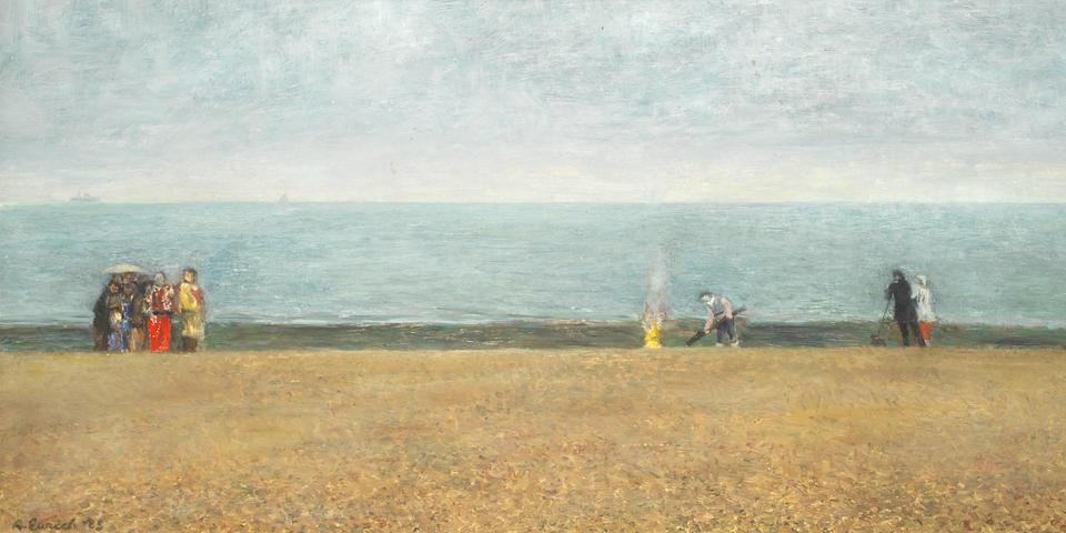 Richard Eurich R.A. (British, 1903-1992) 'Burning Wreckage on the Beach'