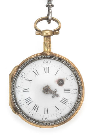 Charles LeRoy, Paris. A gilt metal and stone set key wind open face pocket watch with enamel miniature portrait of a lady and complimenting chatelaine Circa 1790