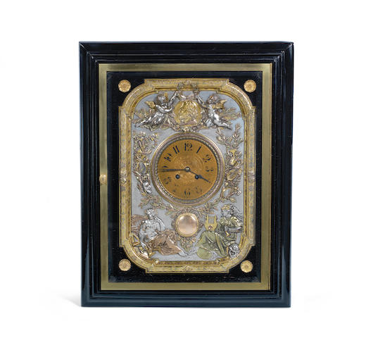 A rare  and unusual late 19th century Elkington & Co. ebonised and gilded and slivered electrotype wall clock  the dial signed Elkington & Co, the French movement stamped Japy Freres