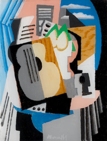 Louis Marcoussis (1878-1941) Nature morte à la guitare  (Painted circa 1921)