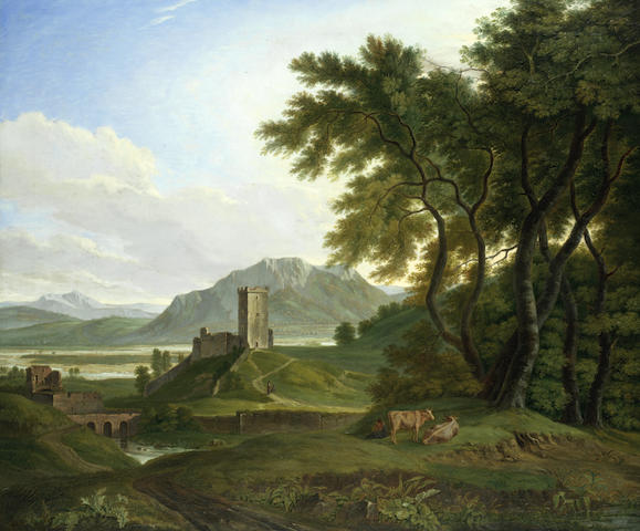 Joseph (Charles) Cogels (Belgian, 1786-1831) An extensive landscape with ruins and cattle