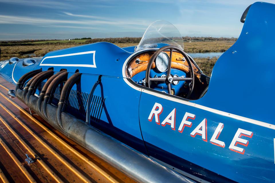 Ex-Emile Picquerez, Ex-commodore Gérard,Bateau à moteur Rafale V (autrefois Aurora) 1934 Hydroplane de record  à moteur d'avion Hispano-Suiza V12