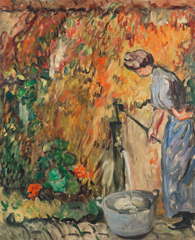 Louis Valtat (1869-1952) Femme à la pompe (Painted circa 1905 / or in 1907 (?))