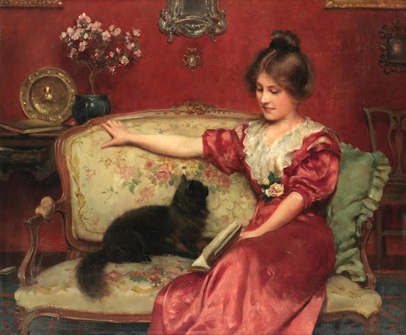 Leo A. Malempre (French/British, Exhibited 1887-1901) Femme assise et son chat
