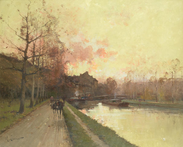 Eugene Galien-Laloue (French, 1854-1941) Canal au soleil couchant