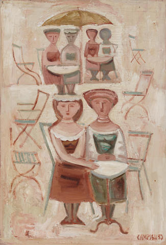 Massimo Campigli, Donne e tavolini, 1953, oil on canvas, Cm 60 x 41,5