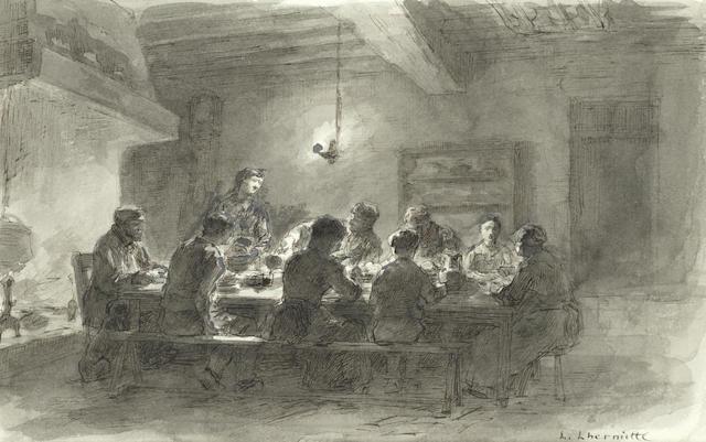 Léon Augustin Lhermitte (French, 1844-1925) Intérieur de la ferme du ru Chailly (executed circa1887)