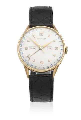 Movado. An 18K gold manual wind triple calendar wristwatch Ref: 4816, Circa 1945